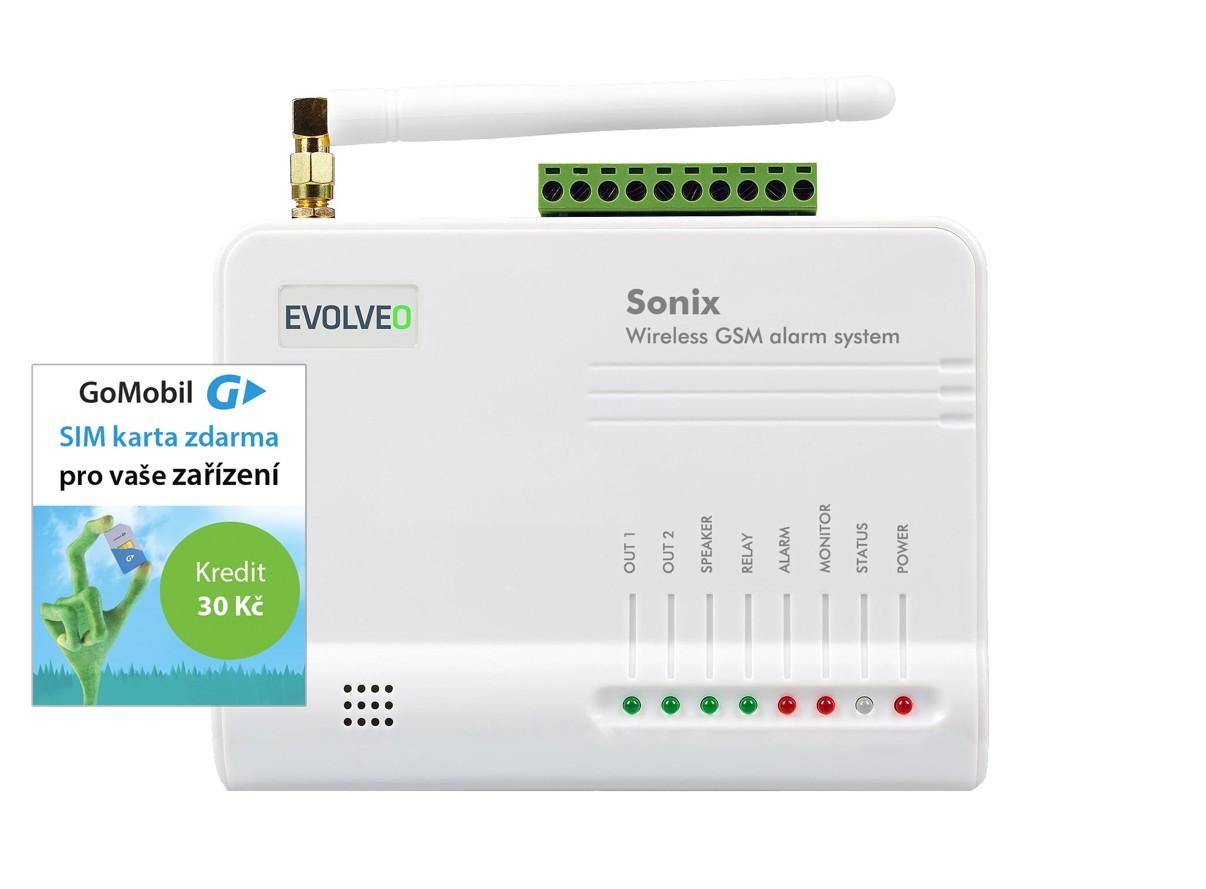 EVOLVEO Sonix - bezdrátový GSM alarm (4 ks dálk. ovl.,PIR čidlo pohybu,čidlo na dveře/okno,externí repro,Android/iPhone (ALM301)