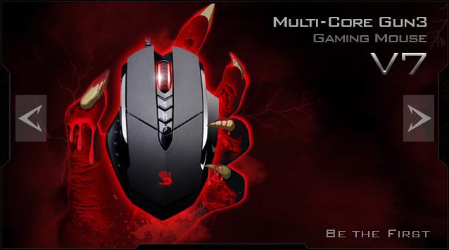 A4tech BLOODY V7 herní myš, až 3200DPI, HoleLess technologie, 160KB paměť, USB, CORE 2, kovové podložky (V7M)