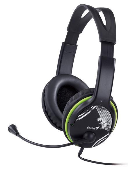 GENIUS sluchátka s mikrofonem HS-400A, černozelená (31710169100)
