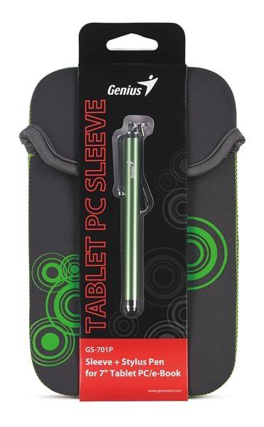 """GENIUS GS-701P, bundle pouzdro na 7"""" Tablet PC šedé + dotykové pero zelené (39700011103)"""