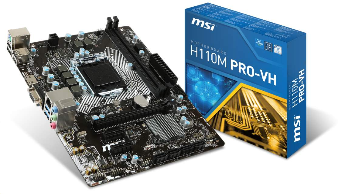 MSI MB Sc LGA1151 H110M PRO-VH PLUS, Intel H110, 2xDDR4, VGA+HDMI, GbLAN, mATX
