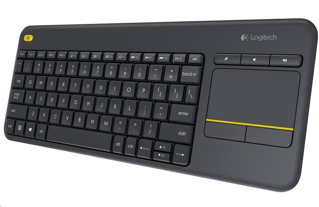 Logitech klávesnice bezdrátová Wireless Touch Keyboard K400 Plus, CZ, Unifying, Czech, podpora Smart TV (920-007151)