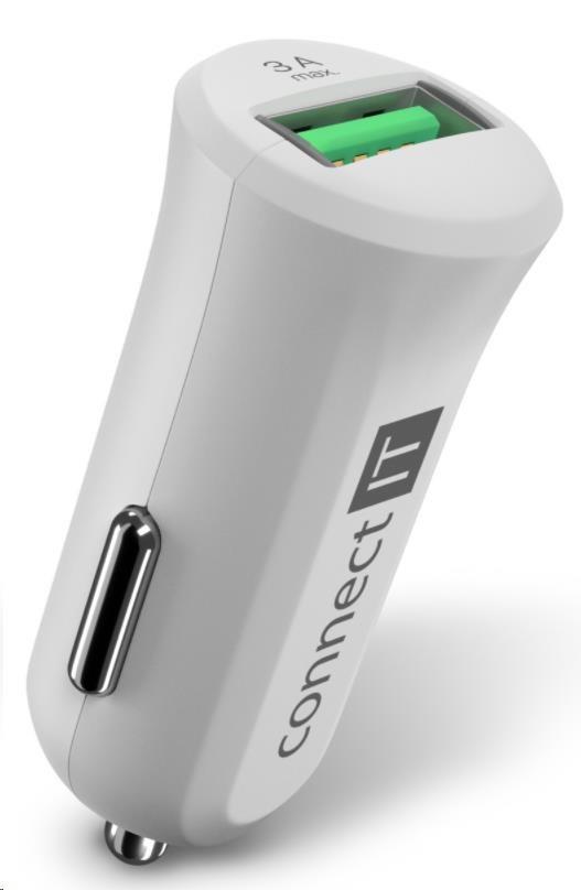 CONNECT IT InCarz QUICK CHARGE 3.0 nabíječka do auta, 1x USB, 3 A, QC 3.0, bílá