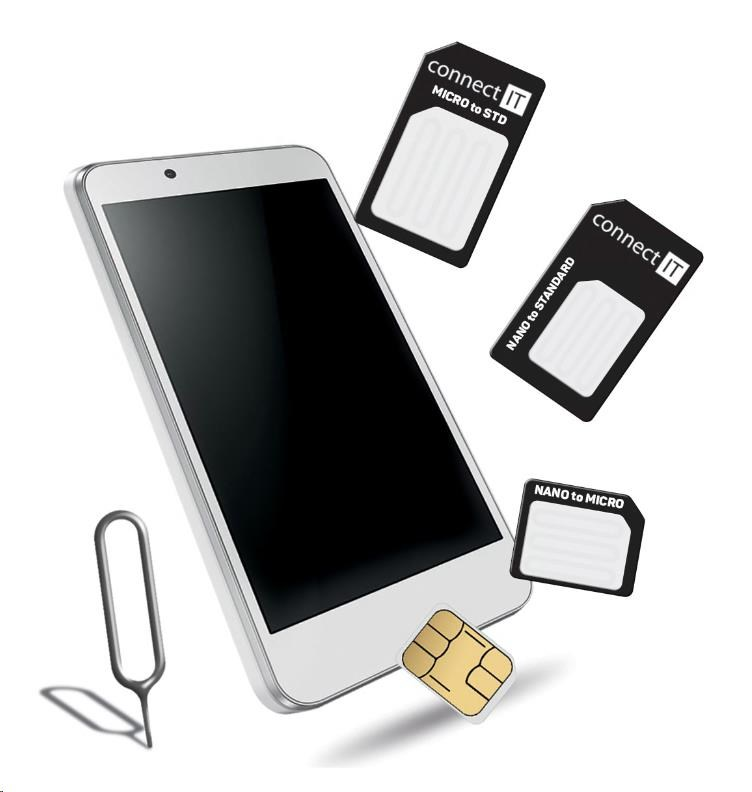 CONNECT IT Nano a micro SIM adaptér, černý