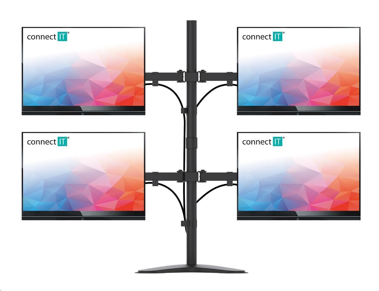CONNECT IT QuadroArm stolní držák na 4 monitory, ČERNÝ