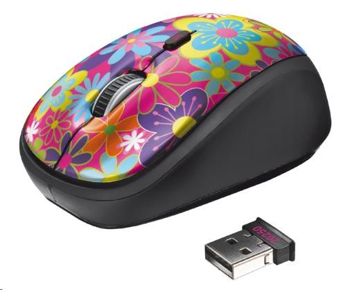 TRUST Myš Yvi Wireless Mouse USB, květiny, bezdrátová (20250)