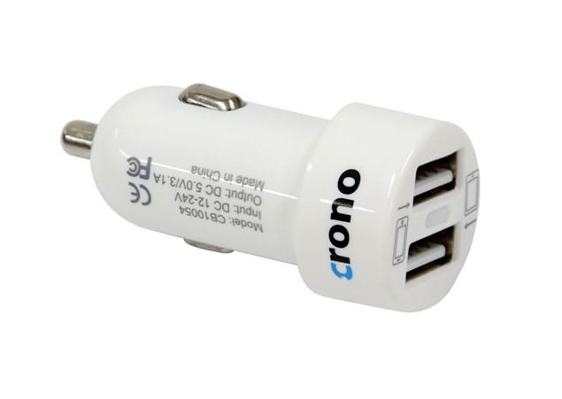CRONO univerzální USB auto nabíječka, 2x USB, 2400 mA, bílá (CB10054)