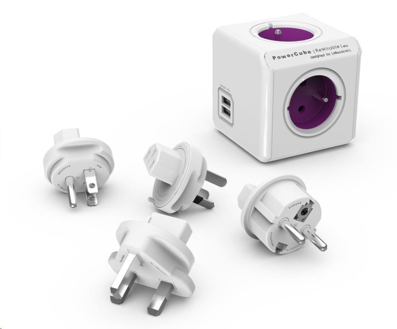 Allocacoc PowerCube ReWirable USB + Travel Plugs, white/pink (8718444083108)