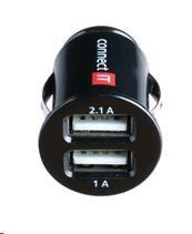 CONNECT IT USB micro nabíječka do auta 2x USB, černá (5V/2,1A + 5V/1A) (CI-176)