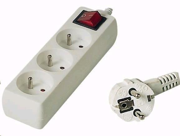 PREMIUMCORD Prodlužovací přívod 230V 7m, 3 zásuvky + vypínač (pp3k-07)