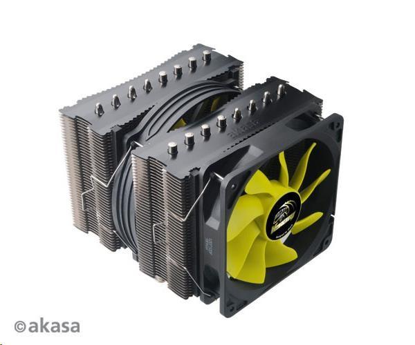 AKASA Chladič CPU VENOM MEDUSA pro patice LGA 775,115x, 1366, 2011, Socket AMx, FMx, měděné jádro, 145mm PWM ventilátor (AK-CC4010HP01)