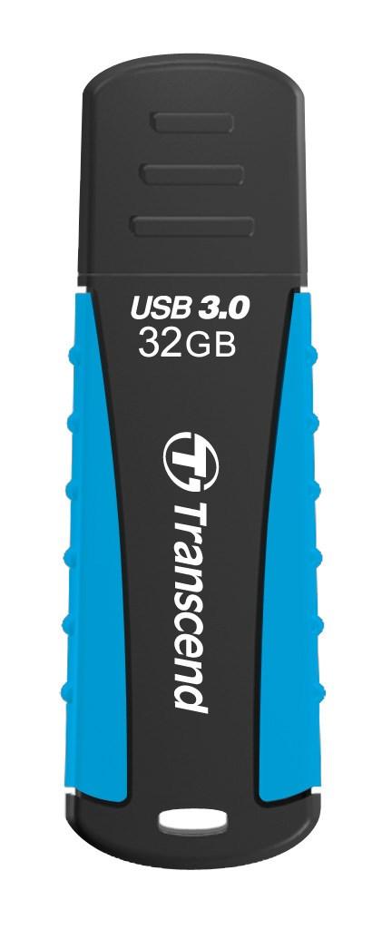 TRANSCEND USB Flash Disk JetFlash®810, 32GB, USB 3.0, Black/Blue (voděodolný, nárazuvzdorný) (R/W 70/18 MB/s) (TS32GJF810)