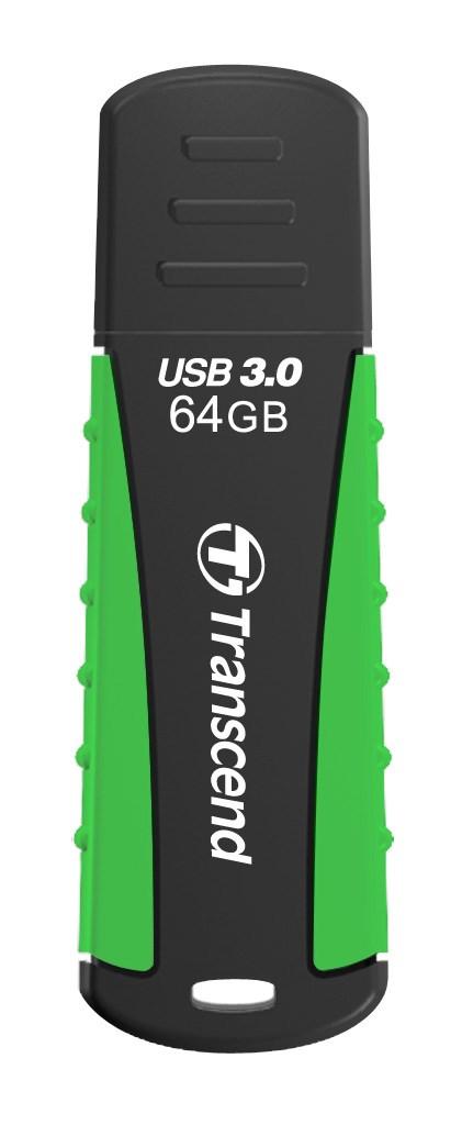 TRANSCEND USB Flash Disk JetFlash®810, 64GB, USB 3.0, Black/Green (voděodolný, nárazuvzdorný) (R/W 80/25 MB/s) (TS64GJF810)