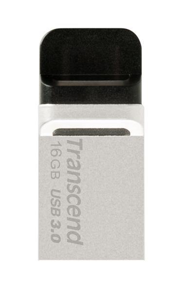 TRANSCEND USB Flash Disk JetFlash®880S, 16GB, USB 3.0/micro USB, Silver (R/W 90/12 MB/s) (TS16GJF88