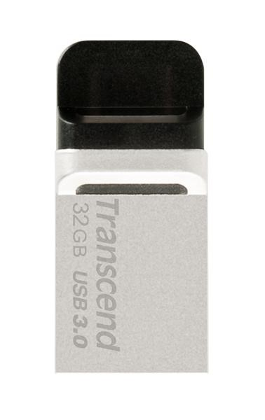 TRANSCEND USB Flash Disk JetFlash®880S, 32GB, USB 3.0/micro USB, Silver (R/W 90/20 MB/s) (TS32GJF88
