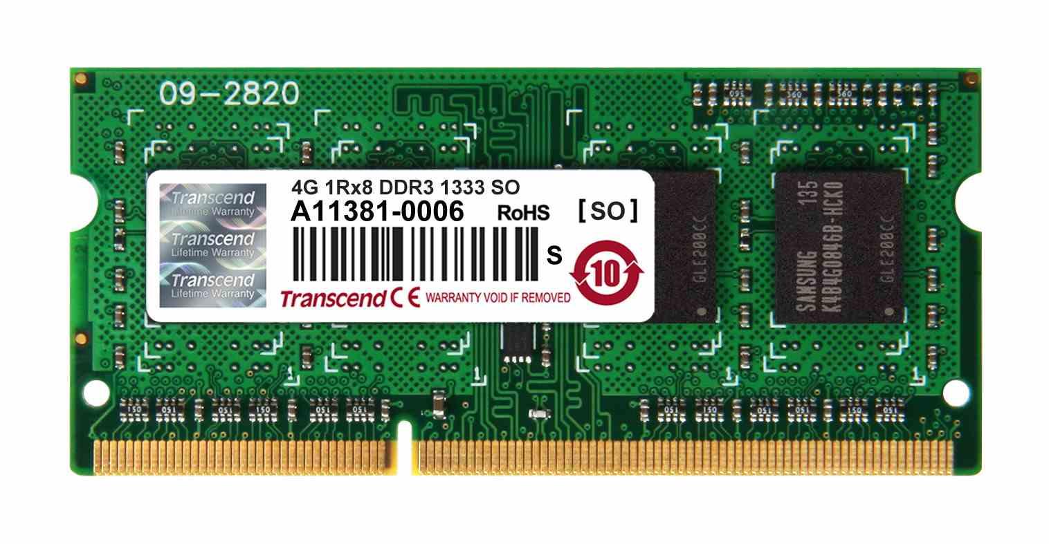 SODIMM DDR3 4GB 1333MHz TRANSCEND 1Rx8 CL9 (TS512MSK64V3H)