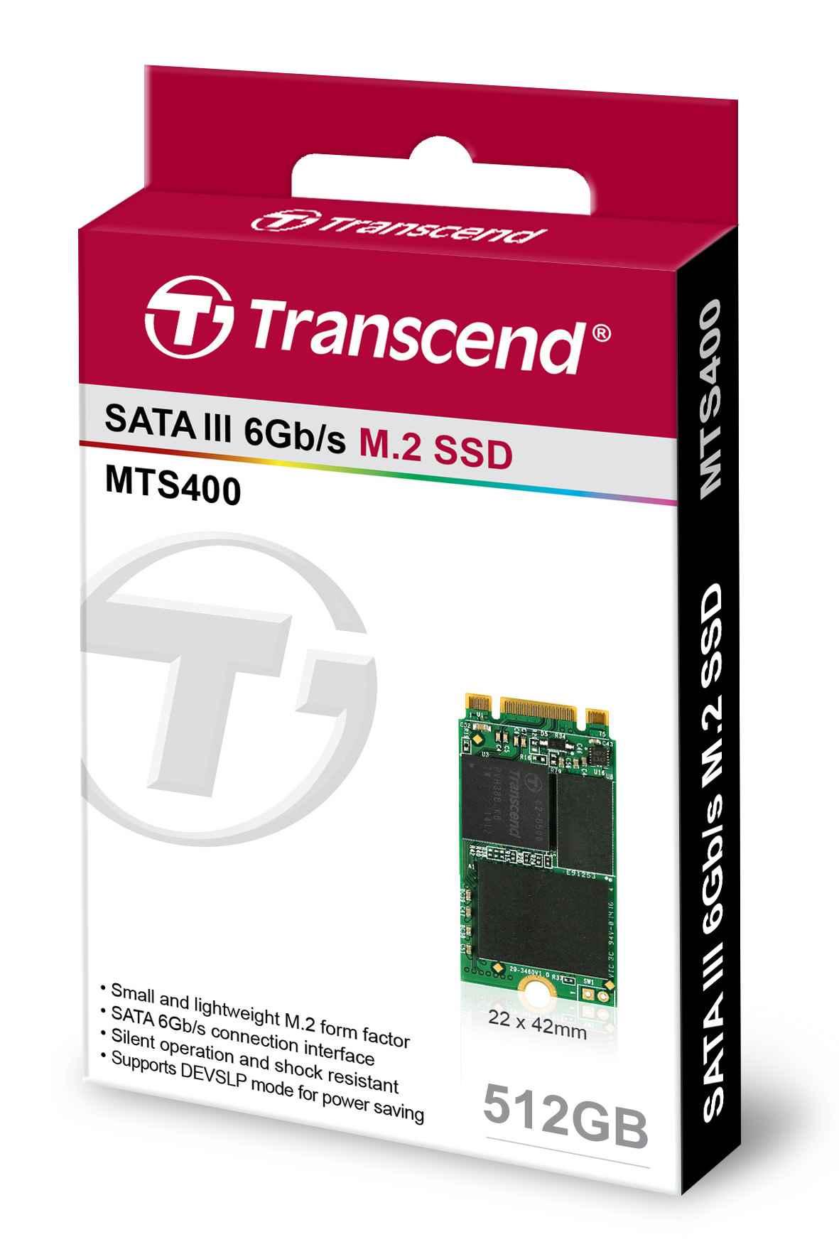 TRANSCEND Industrial SSD MTS400 512GB, M.2 2242, SATA III 6Gb/s, MLC (TS512GMTS400)