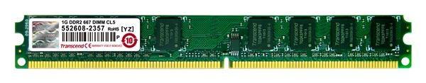 DIMM DDR2 1GB 667MHz TRANSCEND 2Rx8 CL5 (TS128MLQ64V6J)