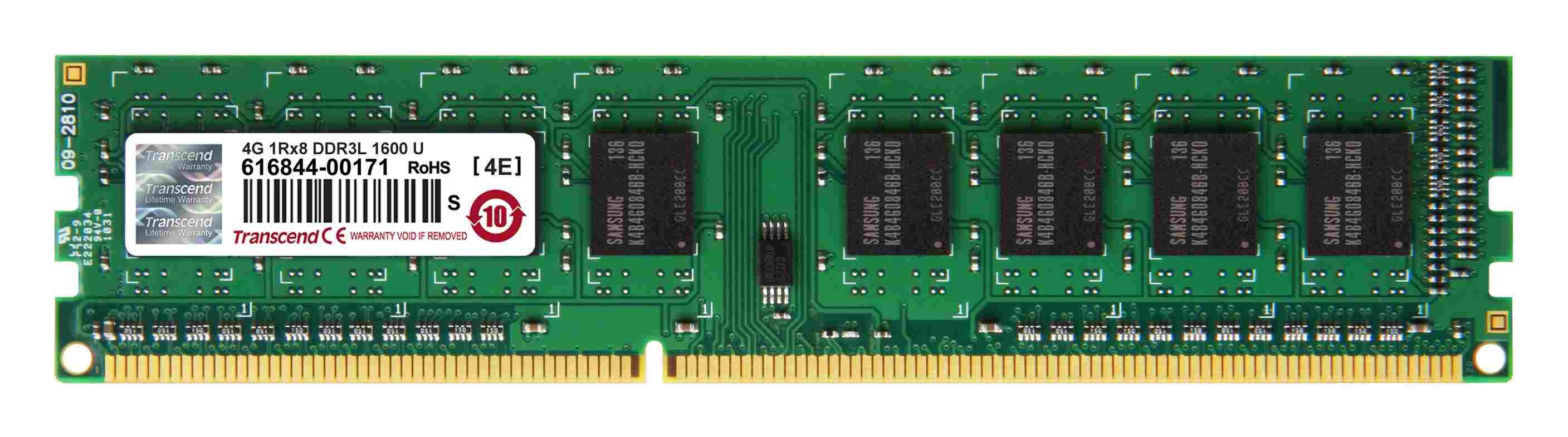 DIMM DDR3L 4GB 1600MHz TRANSCEND 1Rx8 CL11 (TS512MLK64W6H)