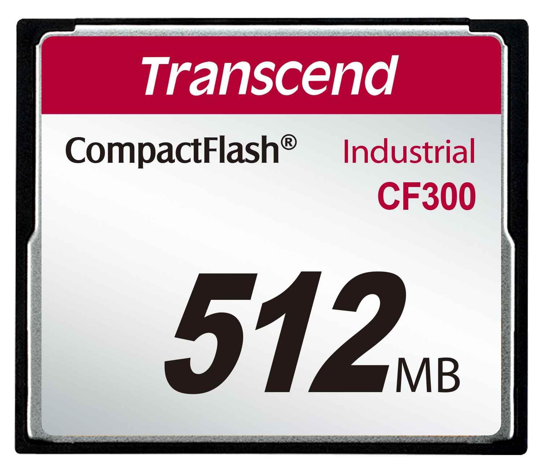 TRANSCEND Industrial Compact Flash Card CF300 512MB, SLC (300X, UDMA5, TYPE I) (TS512MCF300)