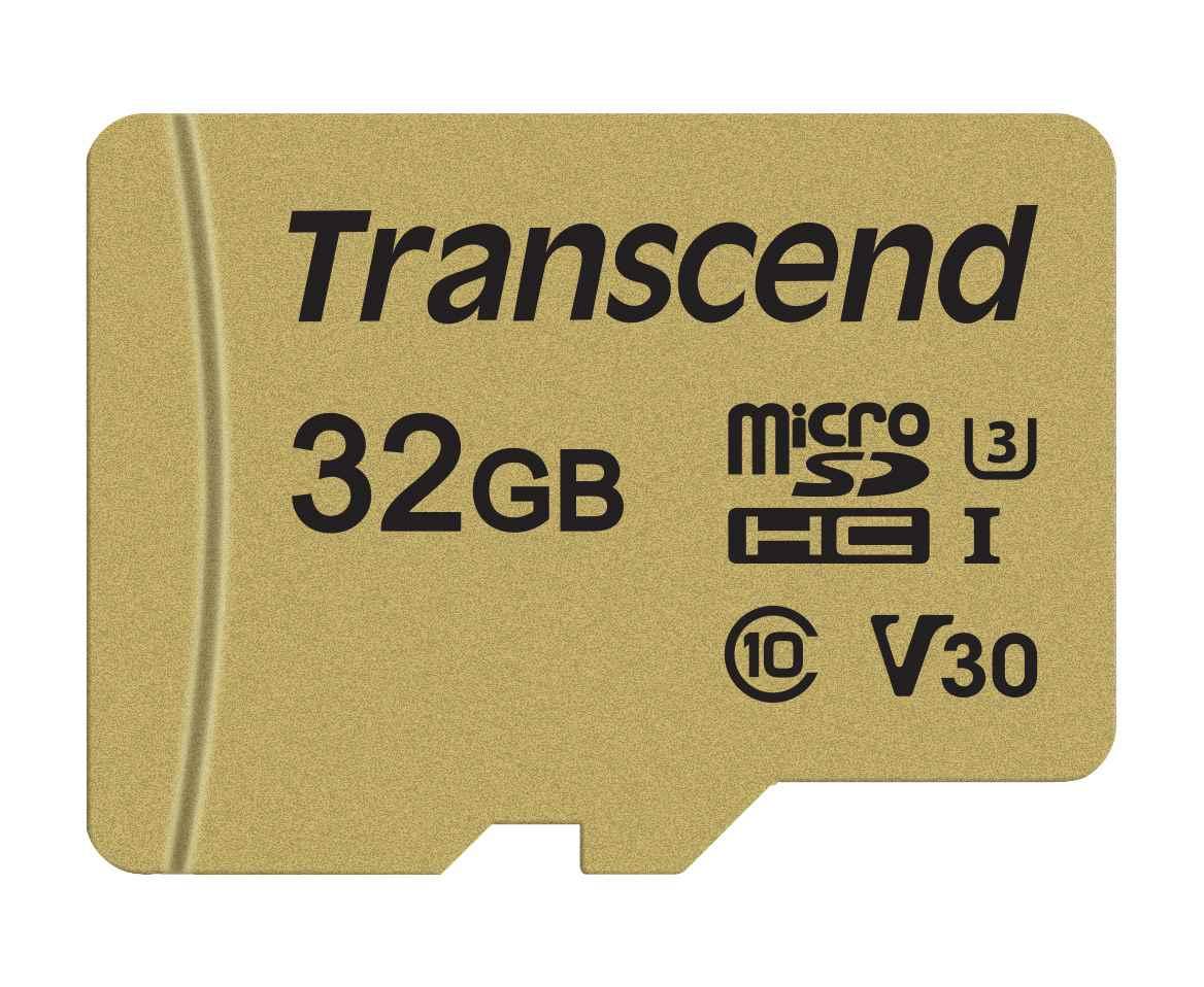TRANSCEND Micro SDHC 500S 32GB UHS-I U3 V30, adaptér