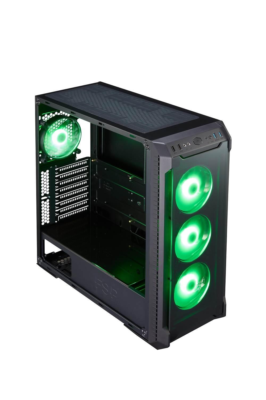 Fortron skříň Midi Tower CMT520 Black, průhledná bočnice, 4 x RGB LED fan