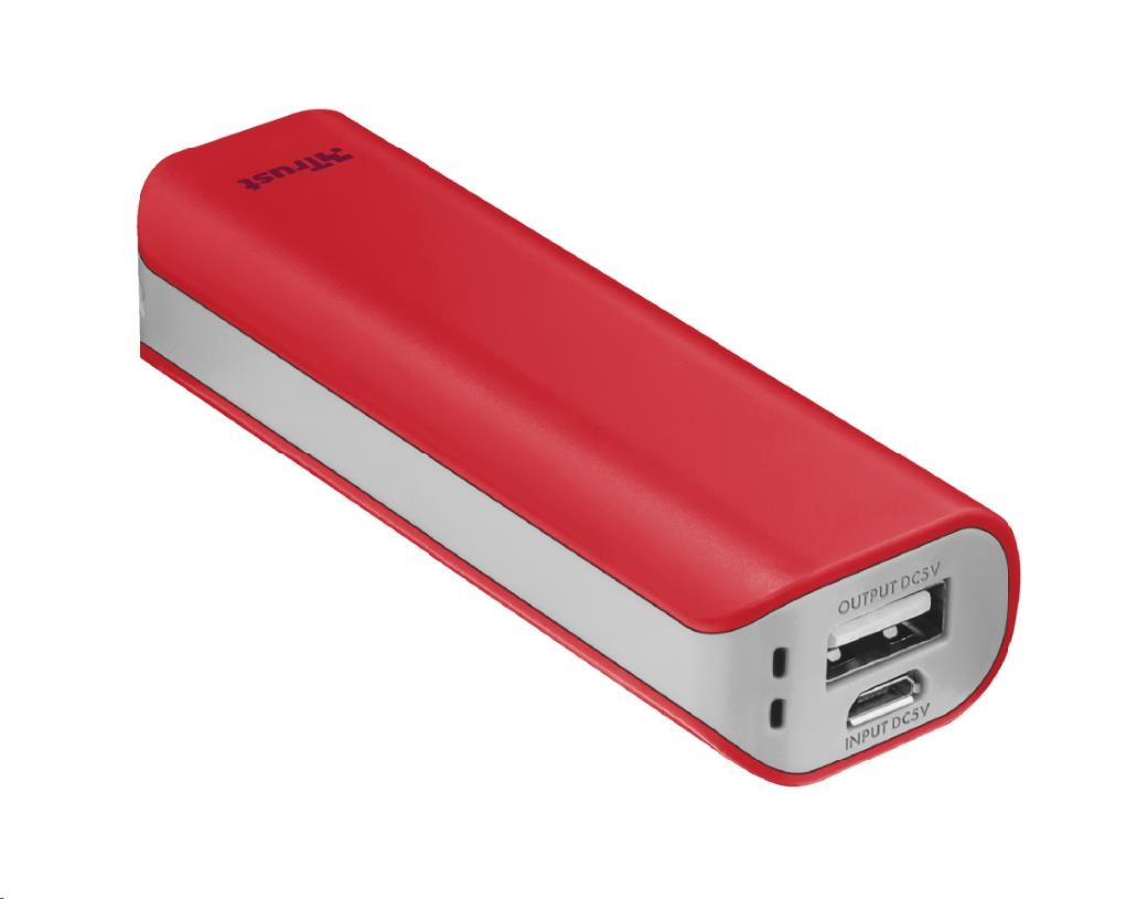 TRUST Primo PowerBank 2200 Portable Charger - red