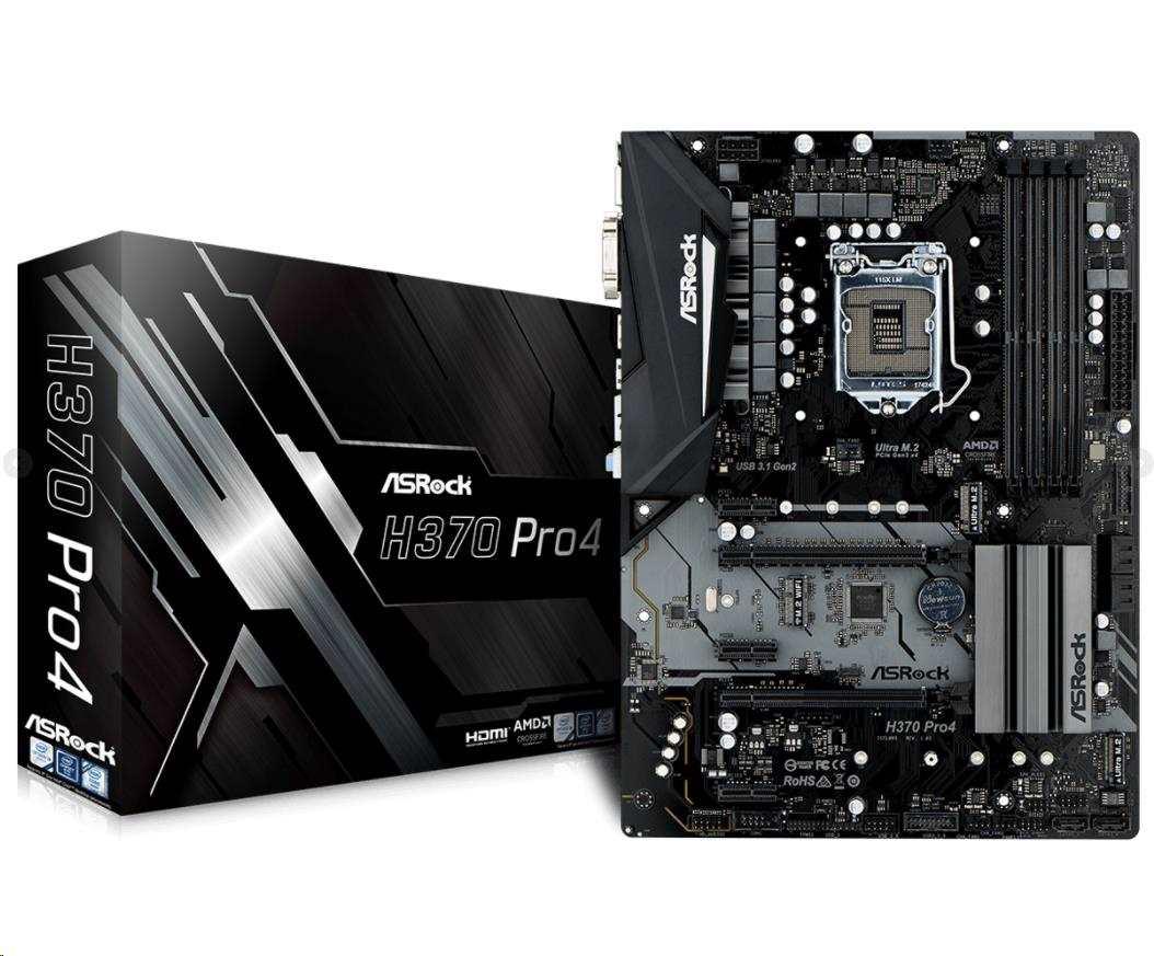 ASRock MB Sc LGA1151 H370 Pro4, Intel H370, 4xDDR4, VGA