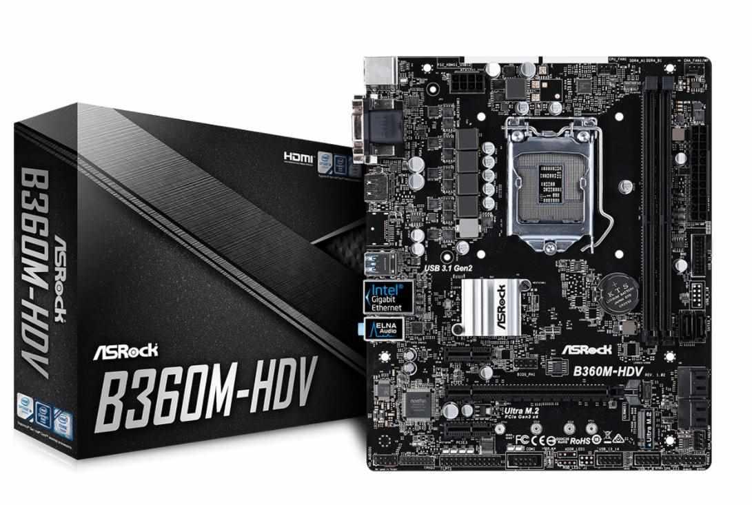 ASRock MB Sc LGA1151 B360M-HDV, Intel B360, 2xDDR4, VGA, micro-ATX