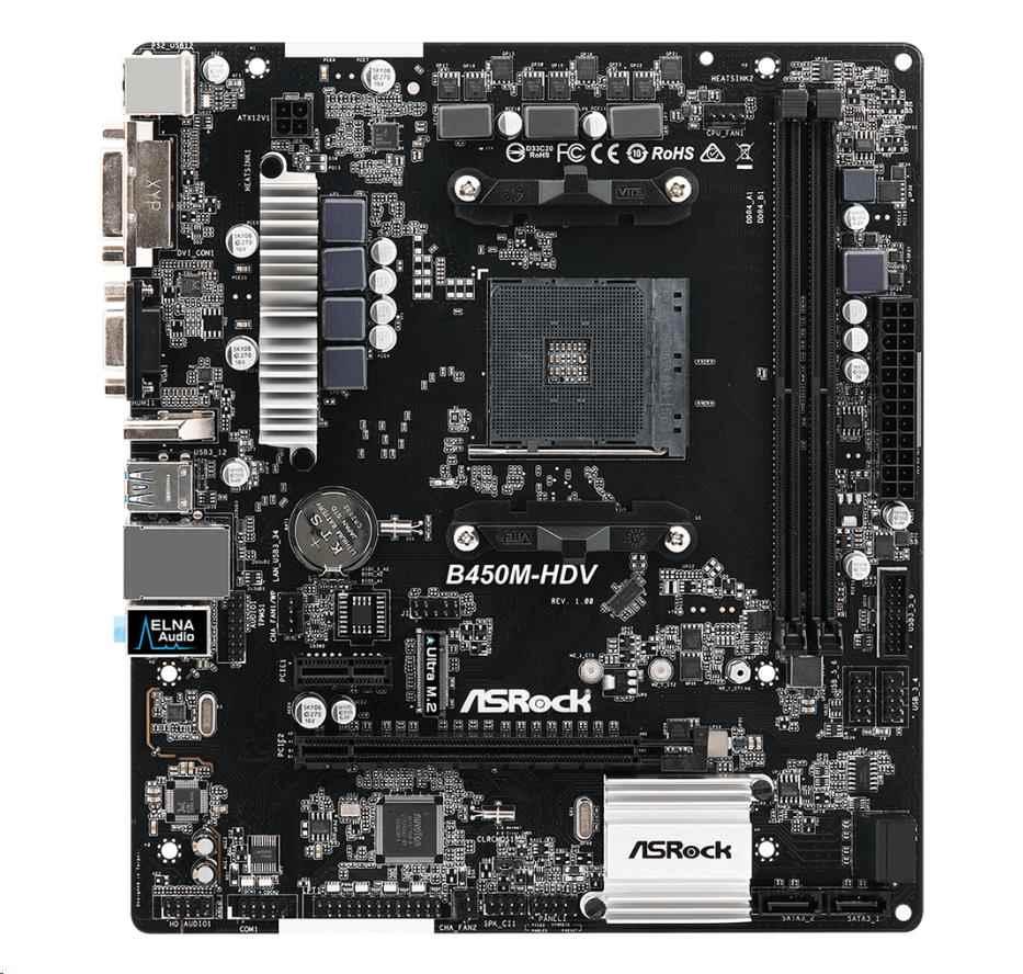 ASRock MB Sc AM4 B450M-HDV, AMD B450, 2xDDR4, VGA, mATX