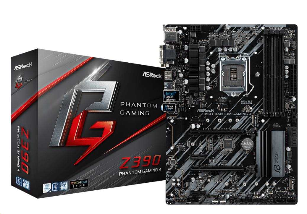 ASRock MB Sc LGA1151 Z390 PHANTOM GAMING 4, Intel Z390, 4xDDR4, VGA