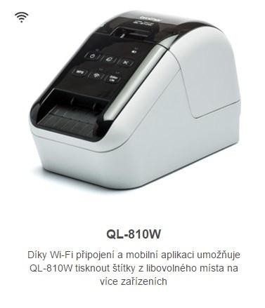 BROTHER tiskárna štítků QL-810W - 62mm, termotisk, WIFI, Profesionální Síťová Tiskárna Štítků (QL810WYJ1)