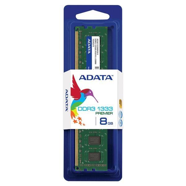 DIMM DDR3 8GB 1333MHz CL9 512x8 ADATA, retail (AD3U1333W8G9-R)