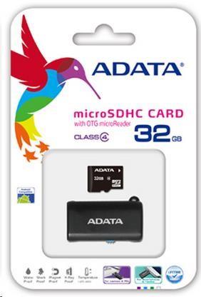 ADATA Micro SDHC karta 32GB Class 4 + OTG čtečka USB 2.0, microUSB (AUSDH32GCL4-ROTGMBK)