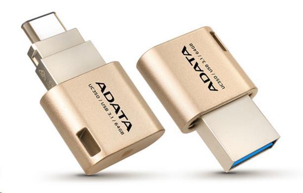 ADATA Flash Disk 16GB USB 3.0, UC350 Type A & Type C USB 3.1(Gen 1), zlatý (AUC350-16G-CGD)