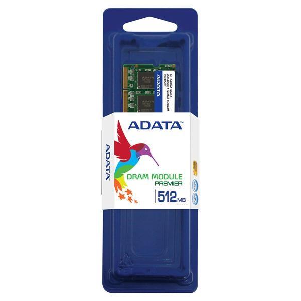 SODIMM DDR 512MB 400MHz (PC3200) ADATA, retail (AD1S400A512M3-R)
