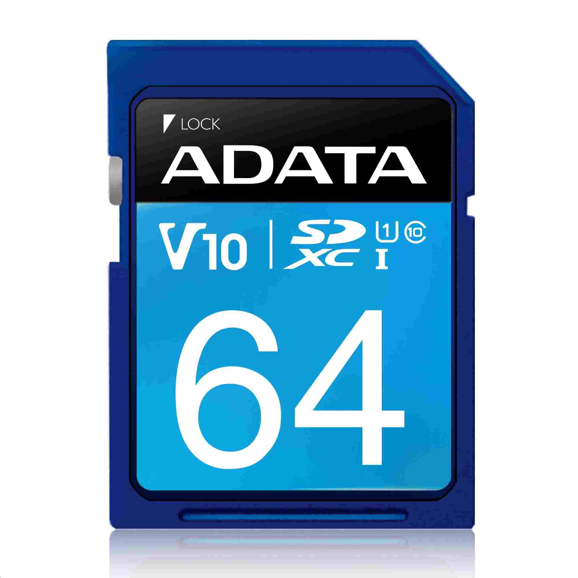 ADATA SDXC karta 64GB UHS-I Class 10, Premier (ASDX64GUICL10-R)