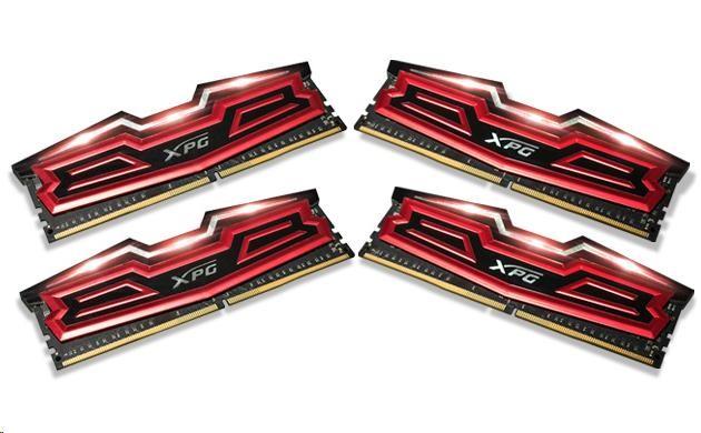 DIMM DDR4 32GB 2400MHz CL16 (KIT 4x8GB) ADATA XPG Dazzle, Red/Black (AX4U2400W8G16-QRD)
