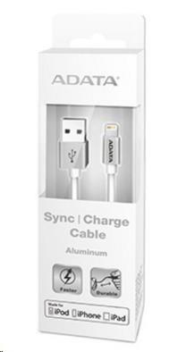 ADATA Sync & Charge Lightning kabel - USB A 2.0, 100cm, hliníková, stříbrná (AMFIAL-100CMK-CSV)