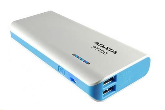 ADATA PowerBank PT100 - externí baterie pro mobil/tablet 10000mAh, bílá/modrá (APT100-10000M-5V-CWHBL)