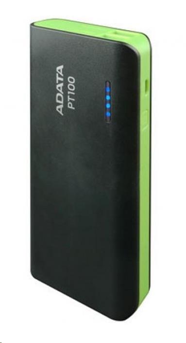 ADATA PowerBank PT100 - externí baterie pro mobil/tablet 10000mAh, černá/zelená (APT100-10000M-5V-CBKGR)