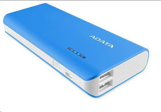 ADATA PowerBank PT100 - externí baterie pro mobil/tablet 10000mAh, modrá/bílá (APT100-10000M-5V-CBLWH)