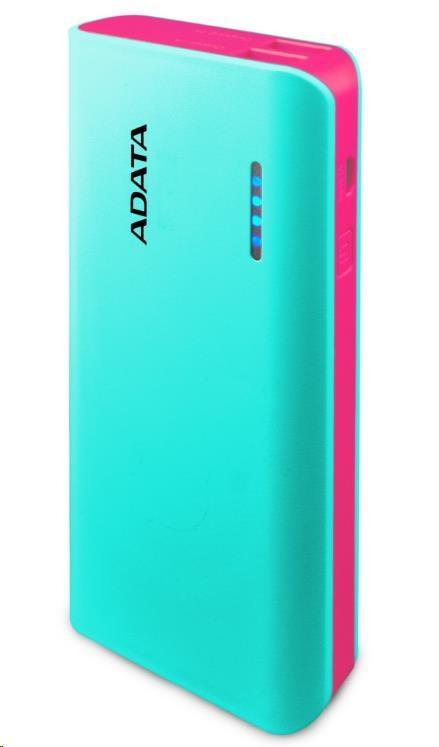ADATA PowerBank PT100 - externí baterie pro mobil/tablet 10000mAh, světle modrá/růžová (APT100-10000M-5V-CTBPK)