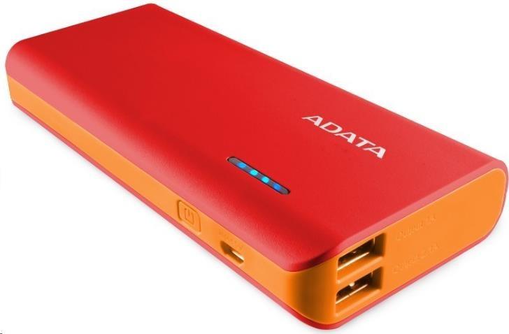 ADATA PowerBank PT100 - externí baterie pro mobil/tablet 10000mAh, červená/oranžová (APT100-10000M-5V-CRDOR)