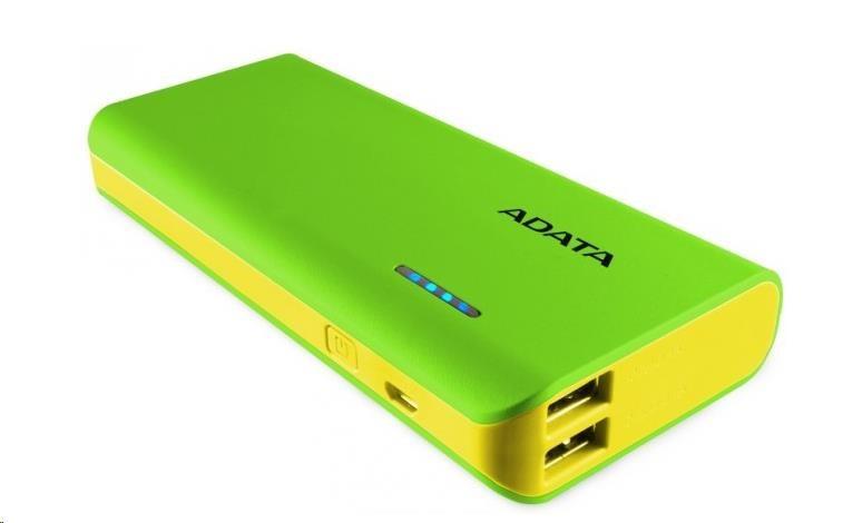 ADATA PowerBank PT100 - externí baterie pro mobil/tablet 10000mAh, zelená/žlutá (APT100-10000M-5V-CGRYL)