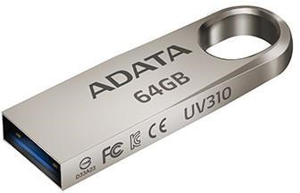 ADATA Flash Disk 64GB USB 3.1 Dash Drive UV310, Silver (R: 100MB/s, W: 30MB/s) (AUV310-64G-RGD)