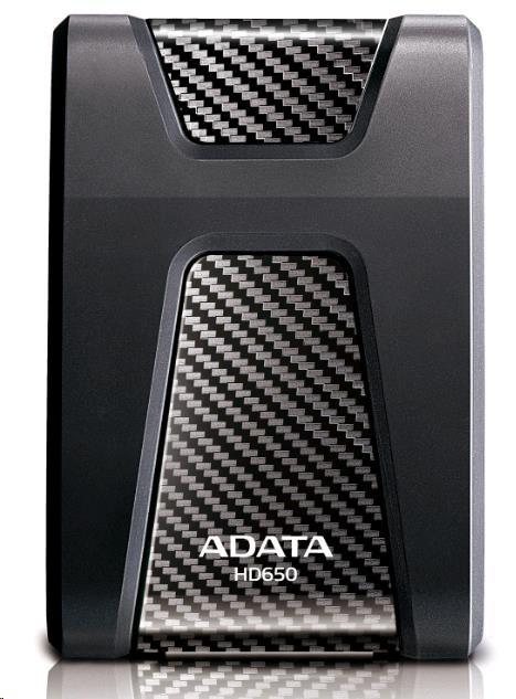 """ADATA Externí HDD 2TB 2,5"""" USB 3.1 DashDrive Durable HD650, černý (gumový, nárazu odolný) (AHD650-2TU31-CBK)"""