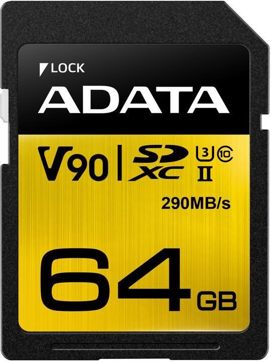 ADATA SDXC karta 64GB UHS-I U3 Class 10, Premier One (R: 290MB / W: 260MB) (ASDX64GUII3CL10-C)