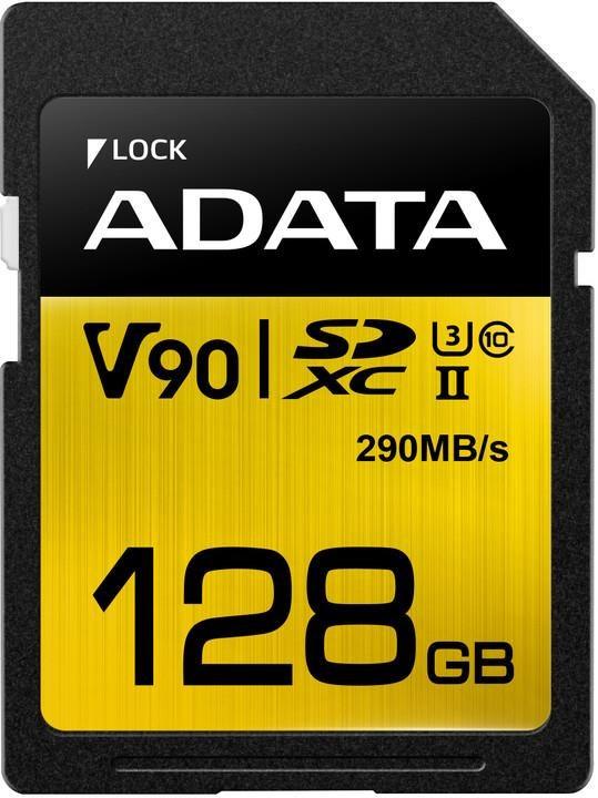 ADATA SDXC karta 128GB UHS-I U3 Class 10, Premier One (R: 290MB / W: 260MB) (ASDX128GUII3CL10-C)