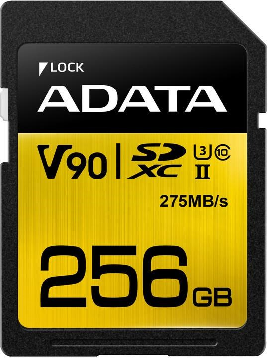 ADATA SDXC karta 256GB UHS-I U3 Class 10, Premier One (R: 290MB / W: 260MB) (ASDX256GUII3CL10-C)